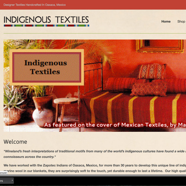 Homepage, Indigenous Textiles site