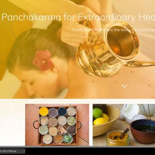 Scrolling down Agni Ayurveda homepage w/ parallax effects