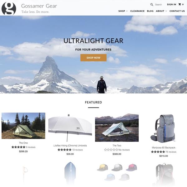 Gossamer Gear [ Shopify Plus ] - gossamergear.com