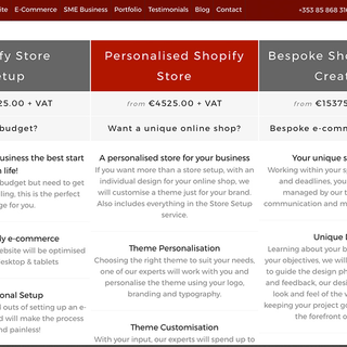 Custom-built Attik Designs packages page, allowing comparison of pricing and features