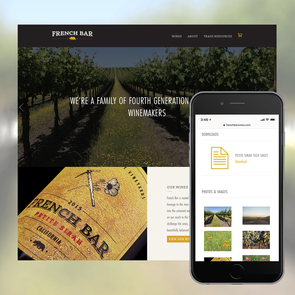 French Bar Winery Website & Custom Trade Downloads Page