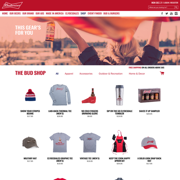 The Bud Shop: www.shop.budweiser.com