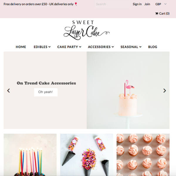 Sweet Layer Cake UK - Shopify Set-up using custom theme