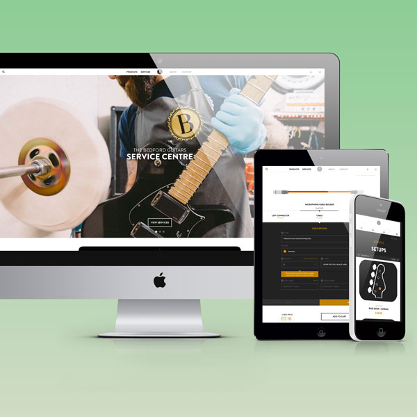 Bedofrd Guitars - Custom Theme Design & Build, Custom App Build