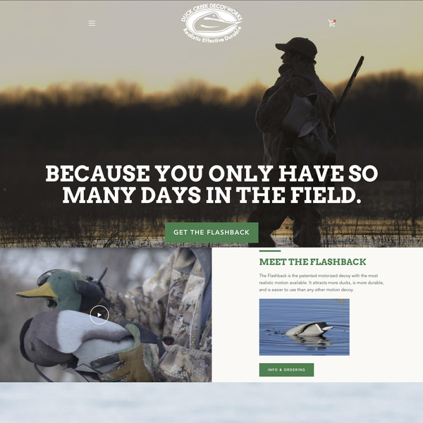 Online store & brand development for Duck Creek Decoy Works