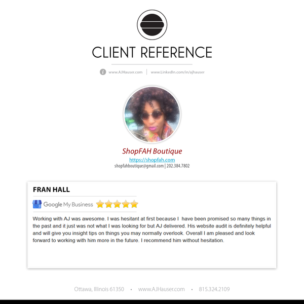 Customer Reference: ShopFAH