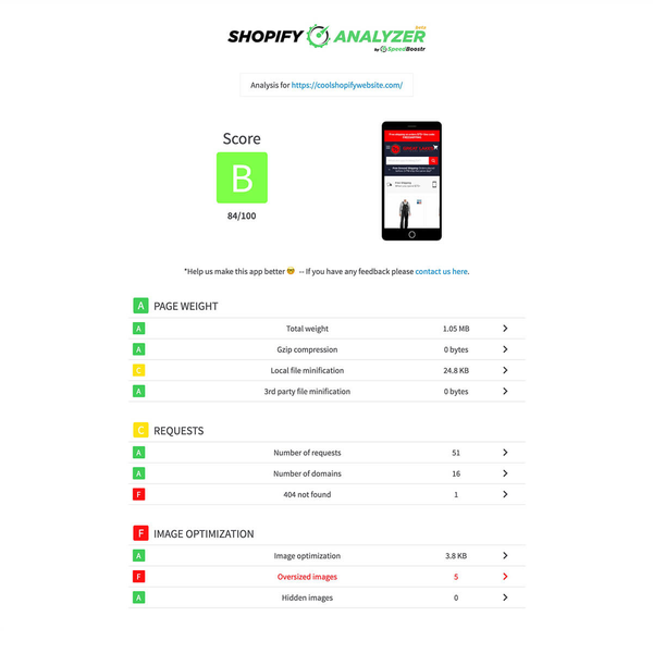 Web app to analyze Shopify sites and give optimization recommendations.