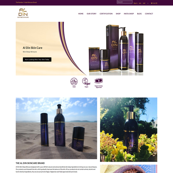 Full website setup. www.aldinskincare.com