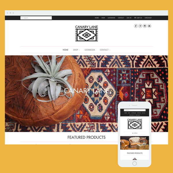 Store set-up for a merchant of vintage rugs and custom furnishings. Built on the Responsive theme.