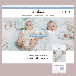 Store set-up for Little Days bespoke blankets and keepsakes, built on the Prestige theme.