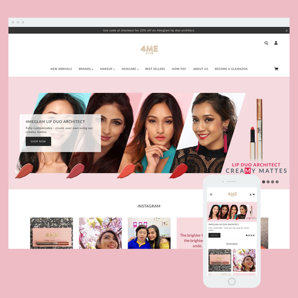 Store setup and ongoing maintenance service for 4MeGlam cosmetics. Built using the Blockshop theme.