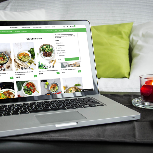 Meal plan personalisation available on the THR1VE Shopify site