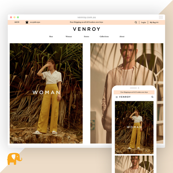 venroy.com.au - Migration from Magento and redesign on Shopify