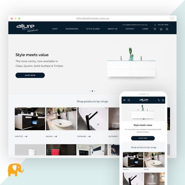 allurebathrooms.com.au - Migration from Magento and redesign on Shopify