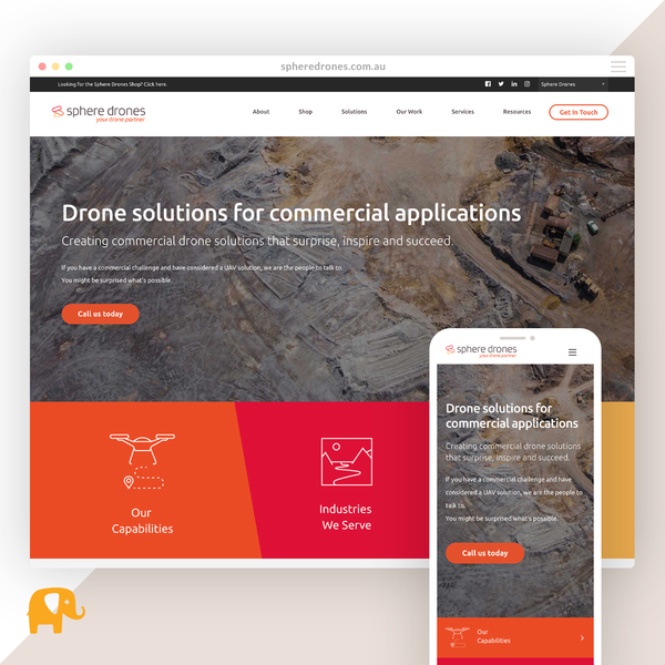 spheredrones.com.au - Complex build merging a services business and eCommerce