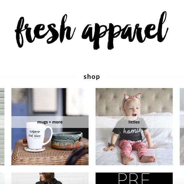 Fresh Apparel Shopify set-up