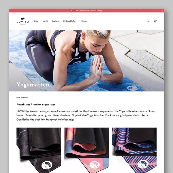 Online shop for new yogawear brand