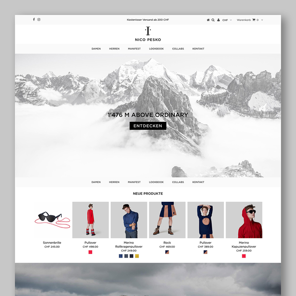 Online shop for traditional swiss fashion brand