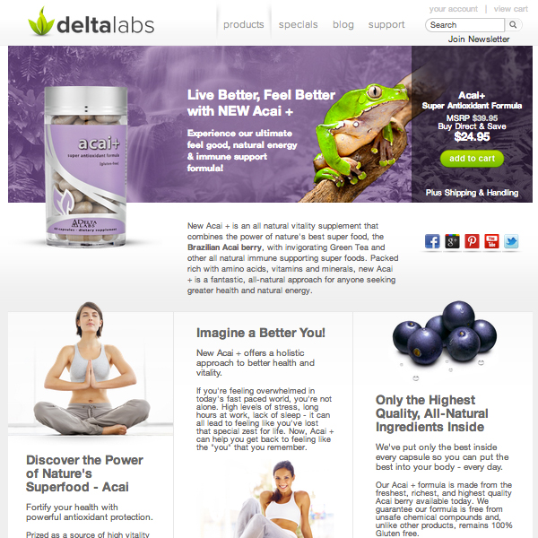 A fully responsive custom Shopify design and checkout integration for Delta Labs.
