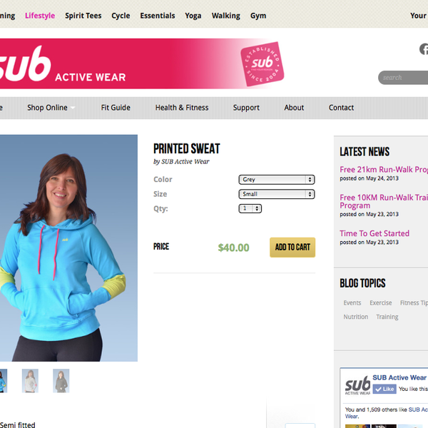 SUB Active Wear Product Detail Page