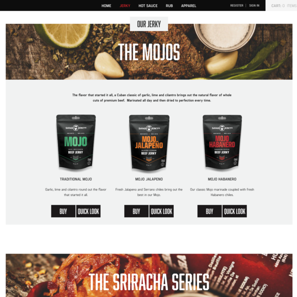 Savage Jerky. Custom Shopify development for delicious beef Jerky.