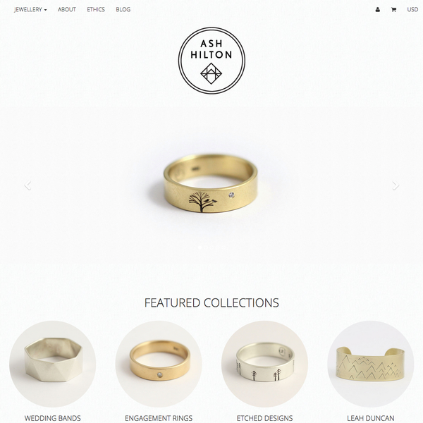 Custom theme design for Ash Hilton Jewellery, Nelson, New Zealand