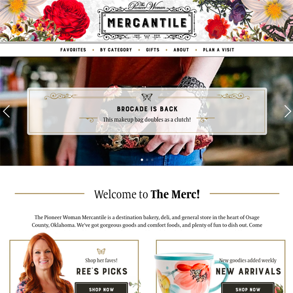 Redesign of The Mercantile, the Pioneer Woman's ecommerce store.