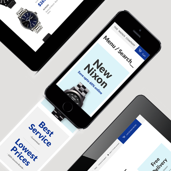 Bold, Intuitive and Engaging mobile website design for The Watch Co