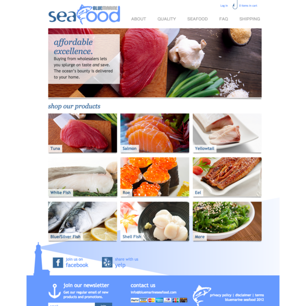 Ecommerce Home Page for Seafood Supplier