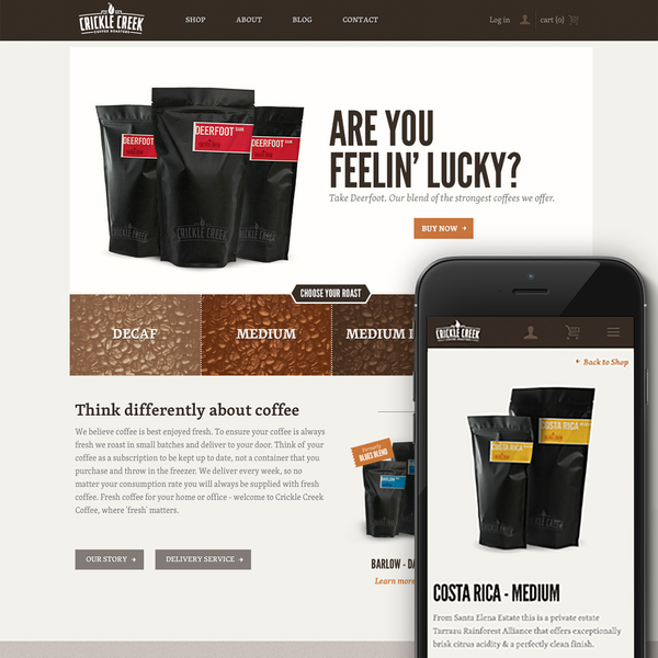 cricklecreekcoffee.com   Branding, Packaging and Shopify Site