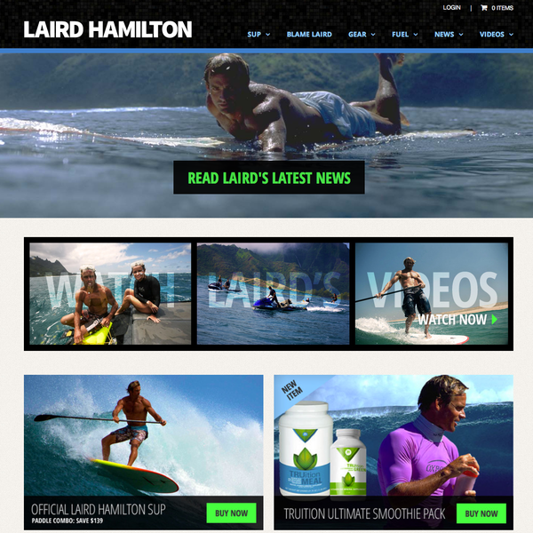 Laird Hamilton's responsive design eCommerce site. Custom integration of video and 3rd party apps.