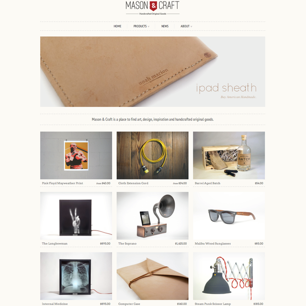 Mason & Craft responsive eCommerce site.