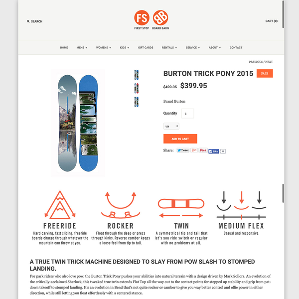 First Stop Board Barn Product Detail Page & Custom Icons