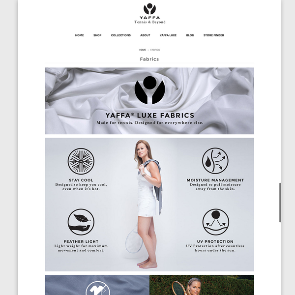 Yaffa Activewear Luxe Fabric Page & Icon Design