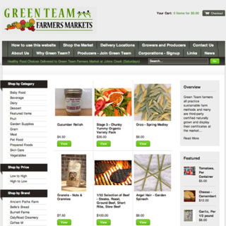 Green Team Farmer's Markets - setup and customization of Shopify store, graphic design (logo)