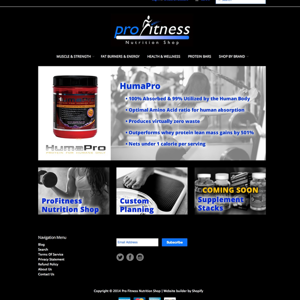 Pro Fitness Nutrition - setup and customization of Shopify store, graphic design (banners & logos)