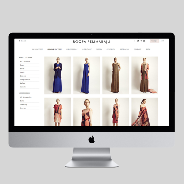 Shopify store developed for an Australian fashion brand Roopa Pemmaraju.