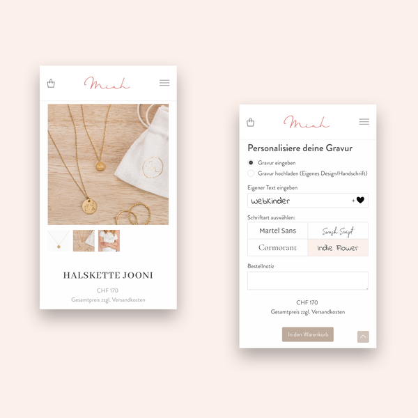 Miah.ch – E-Commerce Lösung mit Produktkonfigurator und Blog (WooCommerce/WordPress)