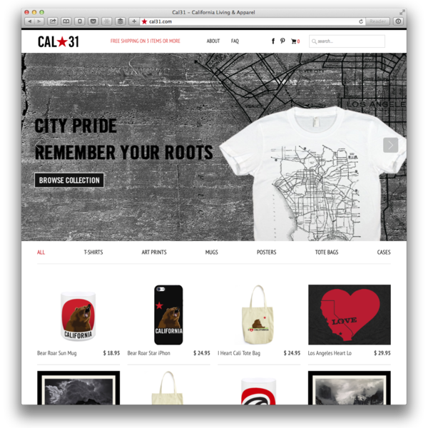 Custom eCommerce theme. http://cal31.com