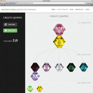 "Leanometry LLC - Ecommerce Designer / Developer / Setup Expert - Custom ""family tree"" application to create tailored generation pendants. http://www.boudiccanox.com"