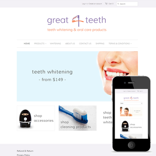 great4teeth.co.nz - Dental hygeine products & whitening service, Christchurch, New Zealand