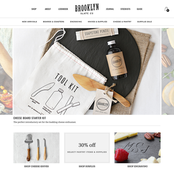 Shopify custom theme design and development for Brooklyn Slate Company.