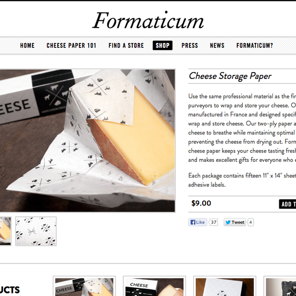 Shopify custom theme design and development for Formaticum Cheese Paper.