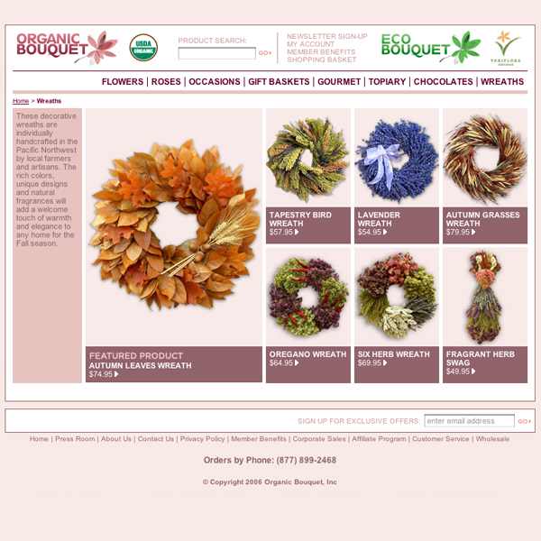 First Online Organic Flower E-Commerce Site