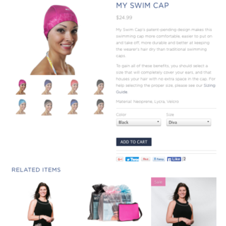 My Swim Caps - Interactive Design, eCommerce