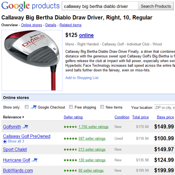 Google Product Search results