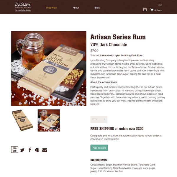 Salazon Chocolate Company Product Page