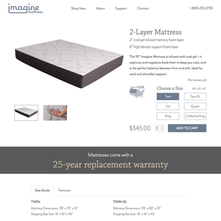 Imagine Mattress Product Page