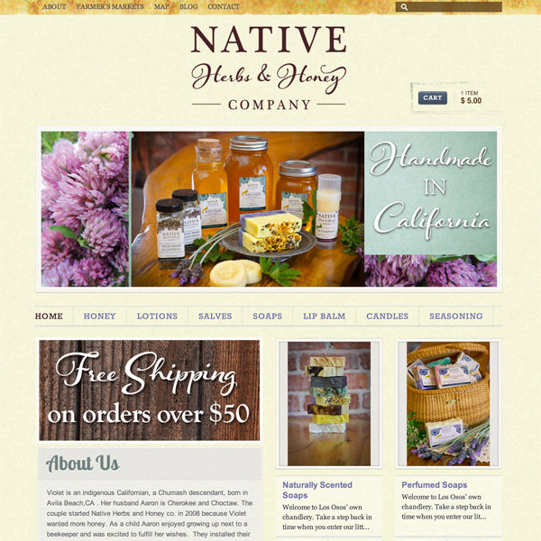Native Herbs & Honey sells local, raw wildflower honey and other boutique products in central CA.