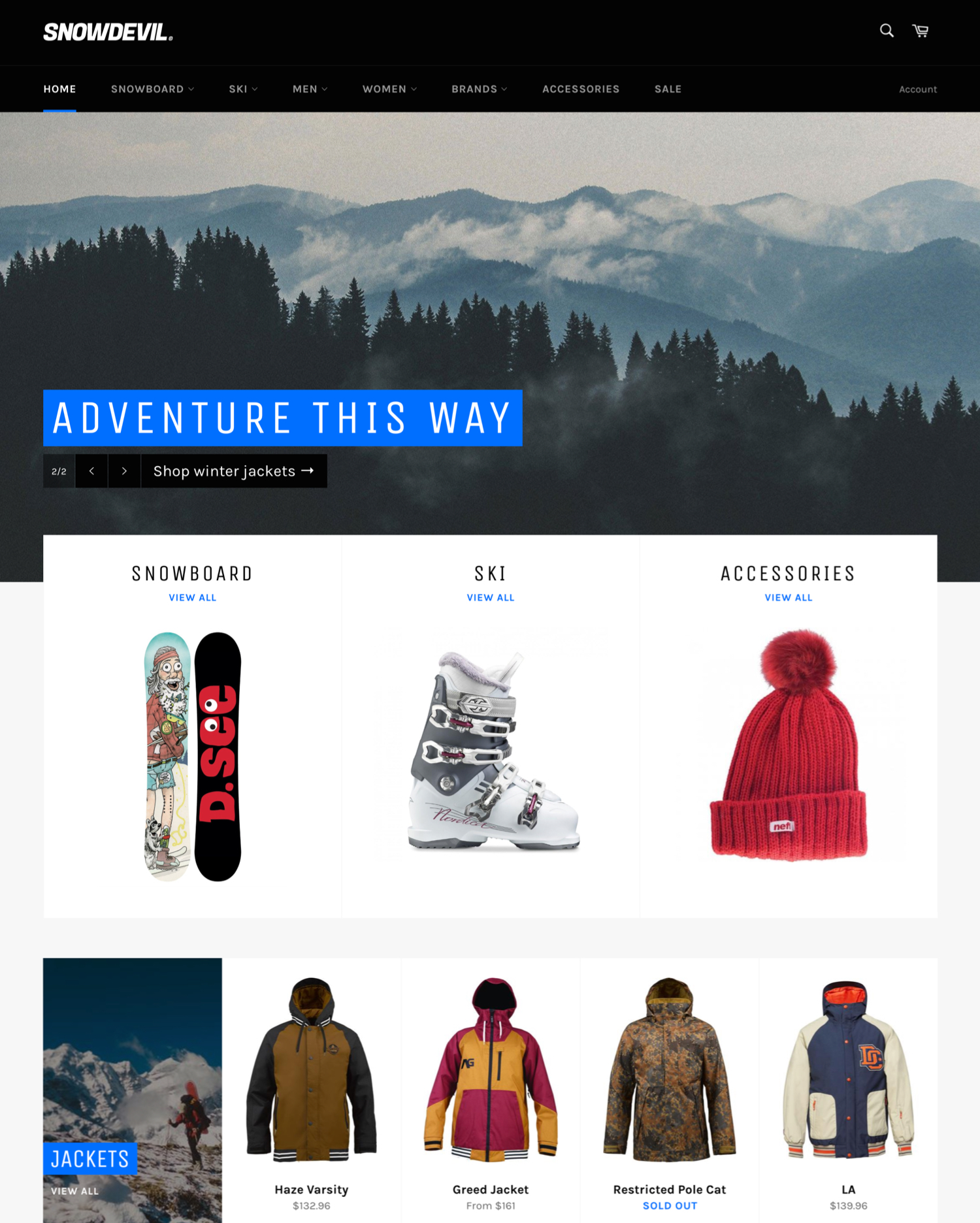 Desktop preview for the Venture - Snowboards theme